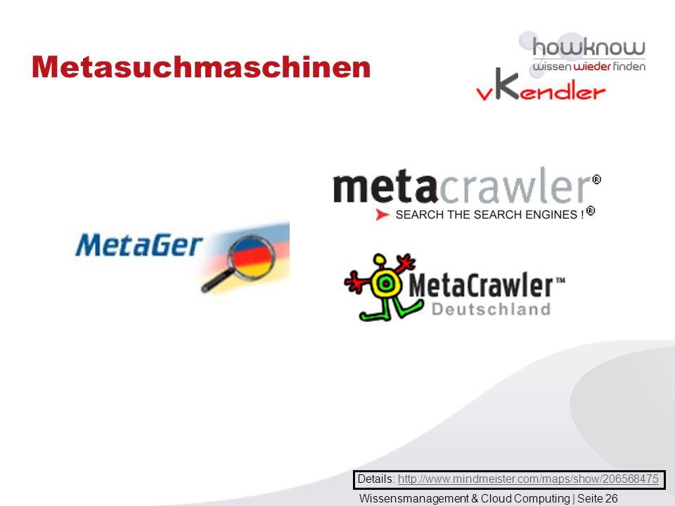 Wissensmanagement & Cloud Computing | Seite 26 Metasuchmaschinen Details: http://www.mindmeister.com/maps/show/206568475http://www.mindmeister.com/map