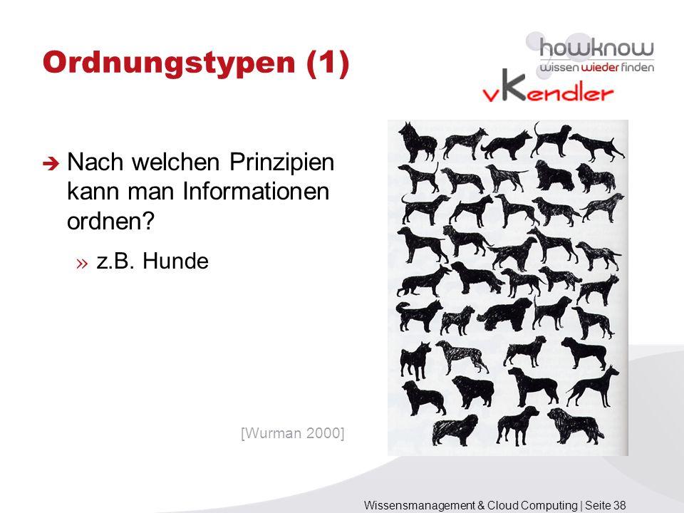 Wissensmanagement & Cloud Computing | Seite 38 Nach welchen Prinzipien kann man Informationen ordnen? » z.B. Hunde Ordnungstypen (1) [Wurman 2000]