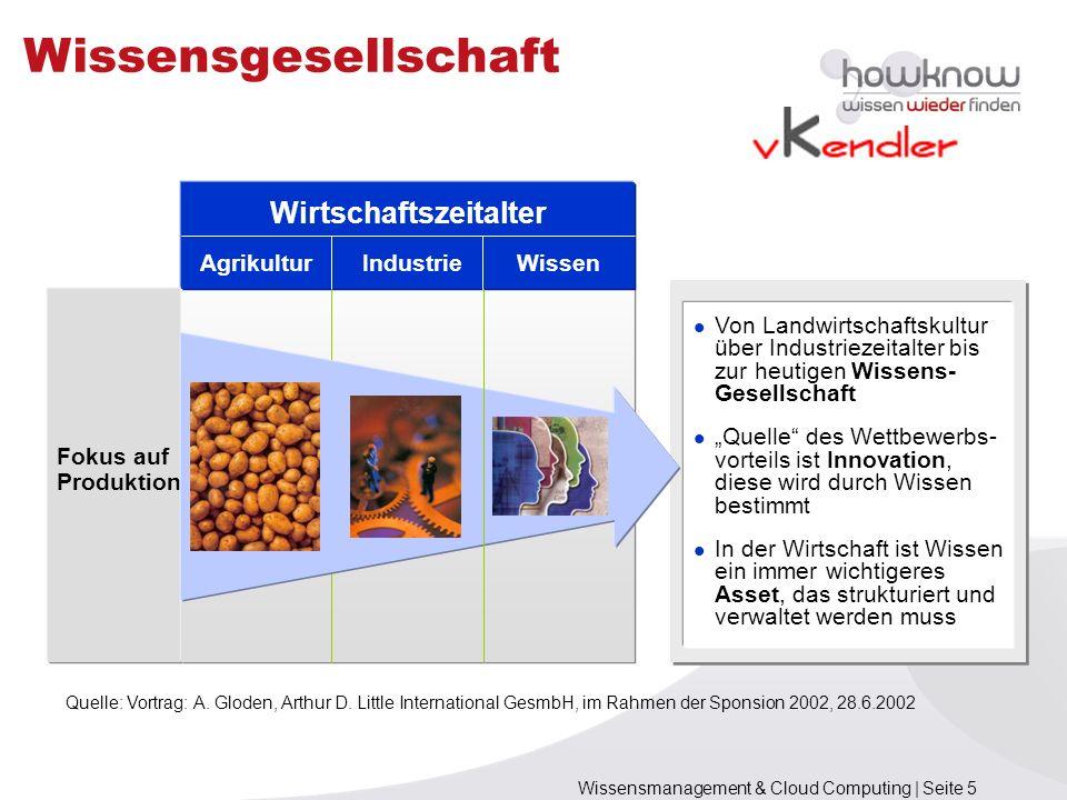 Wissensmanagement & Cloud Computing | Seite 5 Wissensgesellschaft Von Landwirtschaftskultur über Industriezeitalter bis zur heutigen Wissens- Gesellsc
