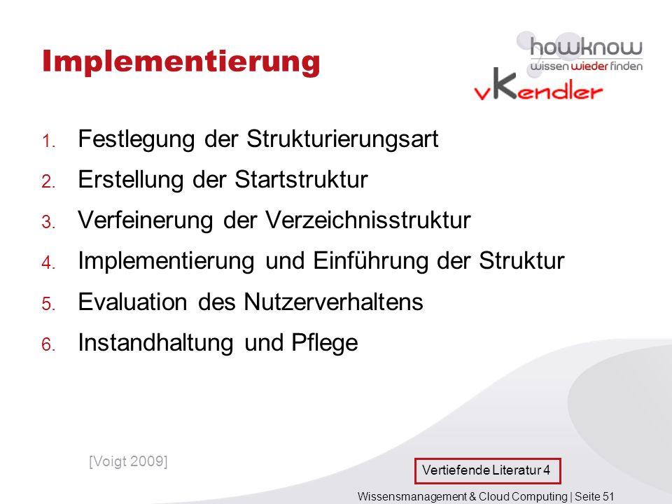 Wissensmanagement & Cloud Computing | Seite 51 Implementierung 1. Festlegung der Strukturierungsart 2. Erstellung der Startstruktur 3. Verfeinerung de