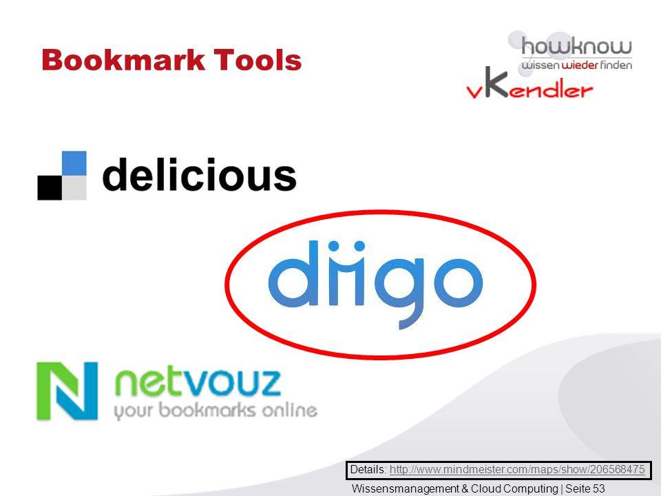 Wissensmanagement & Cloud Computing | Seite 53 Bookmark Tools Details: http://www.mindmeister.com/maps/show/206568475http://www.mindmeister.com/maps/s
