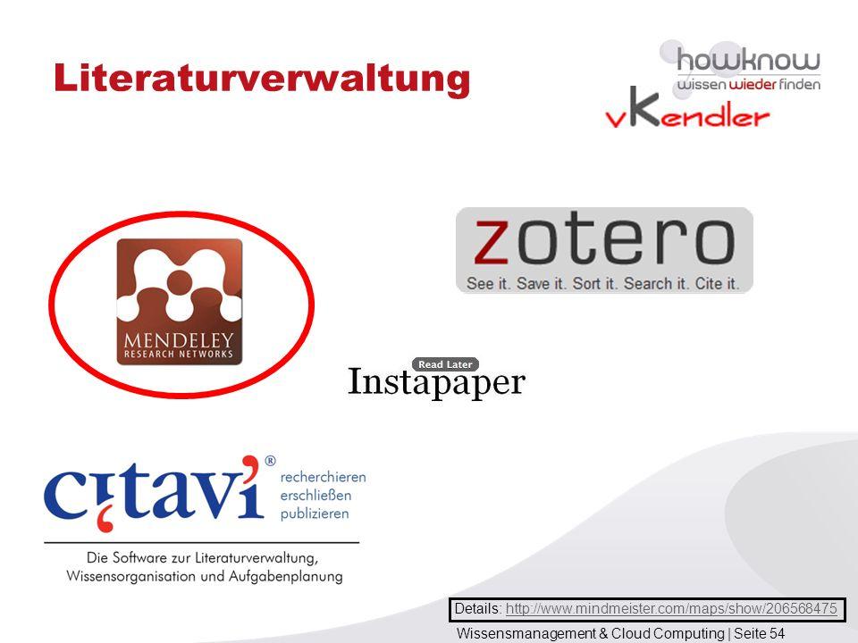 Wissensmanagement & Cloud Computing | Seite 54 Literaturverwaltung Details: http://www.mindmeister.com/maps/show/206568475http://www.mindmeister.com/m