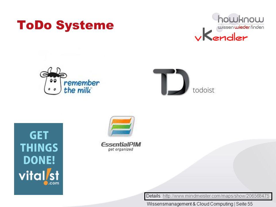 Wissensmanagement & Cloud Computing | Seite 55 ToDo Systeme Details: http://www.mindmeister.com/maps/show/206568475http://www.mindmeister.com/maps/sho