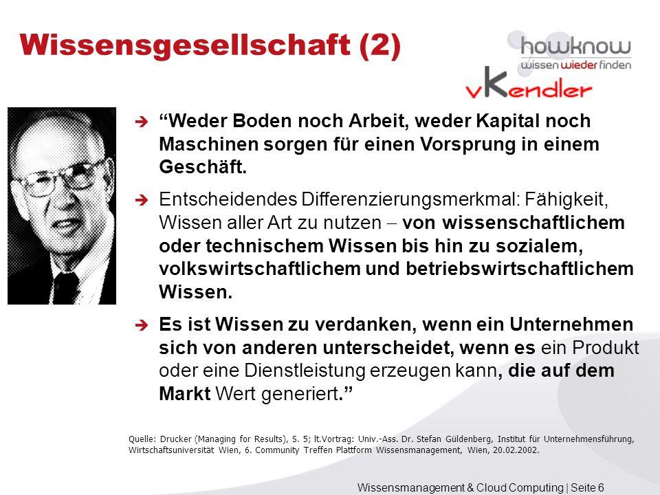 Wissensmanagement & Cloud Computing | Seite 87 Literatur (1) [Bösche 2010] Wolfgang Bösche (2010).