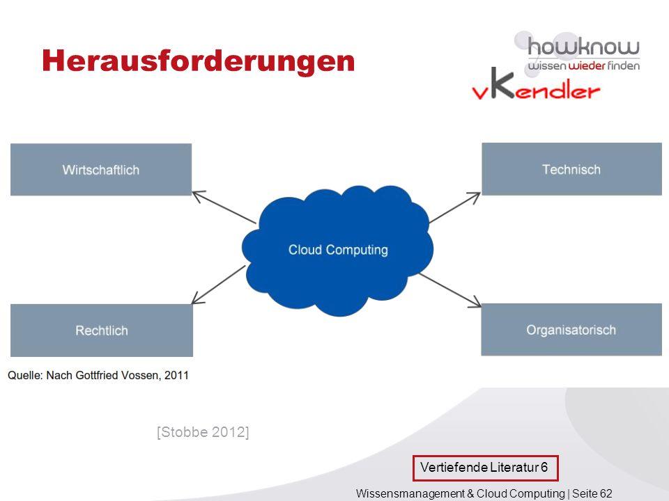 Wissensmanagement & Cloud Computing | Seite 62 Herausforderungen [Stobbe 2012] Vertiefende Literatur 6