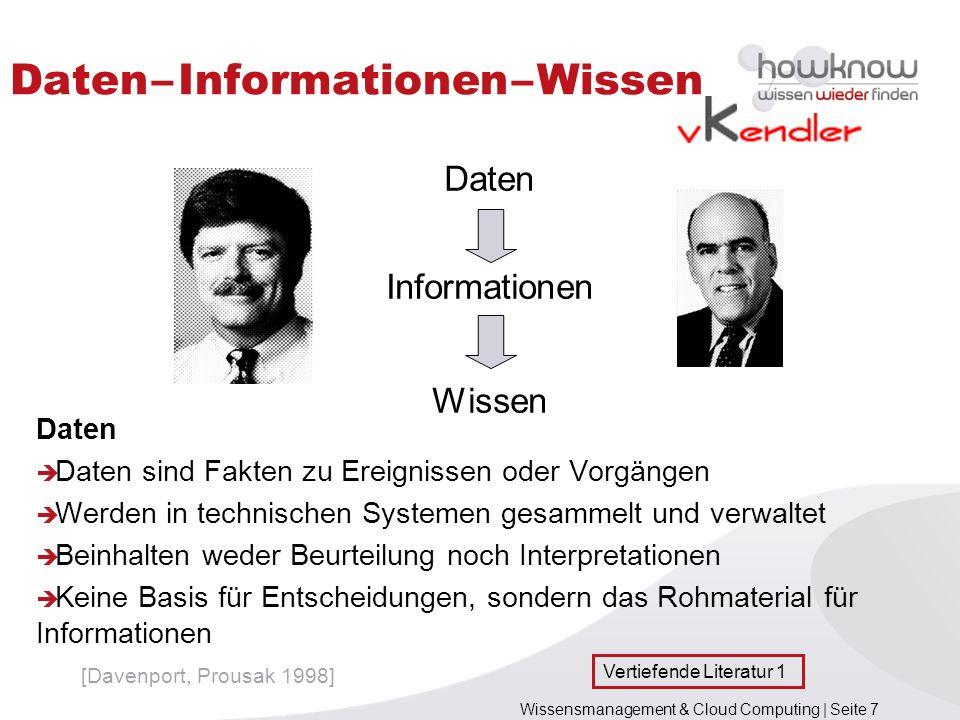 Wissensmanagement & Cloud Computing | Seite 7 Daten – Informationen – Wissen Daten Daten sind Fakten zu Ereignissen oder Vorgängen Werden in technisch