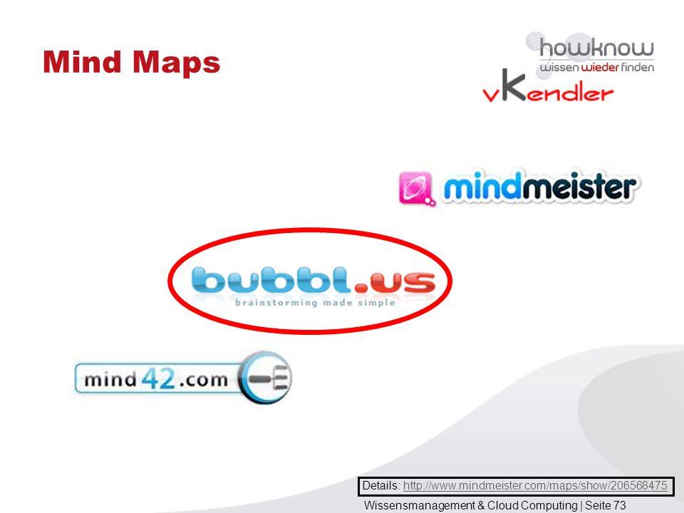 Wissensmanagement & Cloud Computing | Seite 73 Mind Maps Details: http://www.mindmeister.com/maps/show/206568475http://www.mindmeister.com/maps/show/2