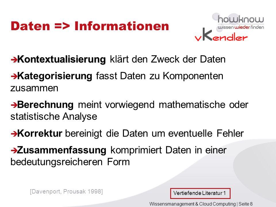 Wissensmanagement & Cloud Computing | Seite 8 Daten => Informationen Kontextualisierung Kontextualisierung klärt den Zweck der Daten Kategorisierung f