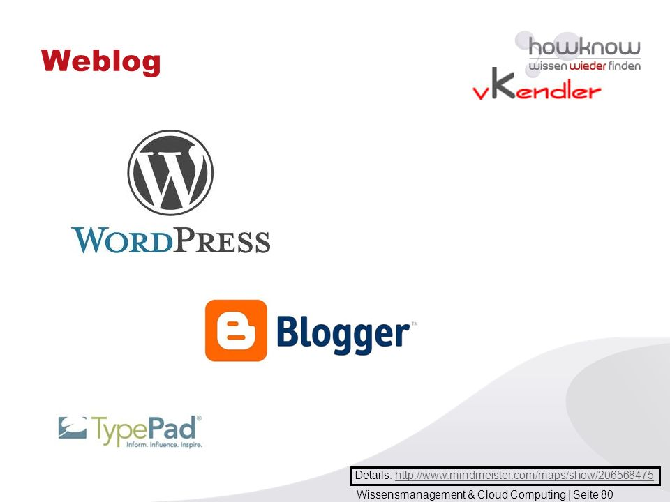 Wissensmanagement & Cloud Computing | Seite 80 Weblog Details: http://www.mindmeister.com/maps/show/206568475http://www.mindmeister.com/maps/show/2065
