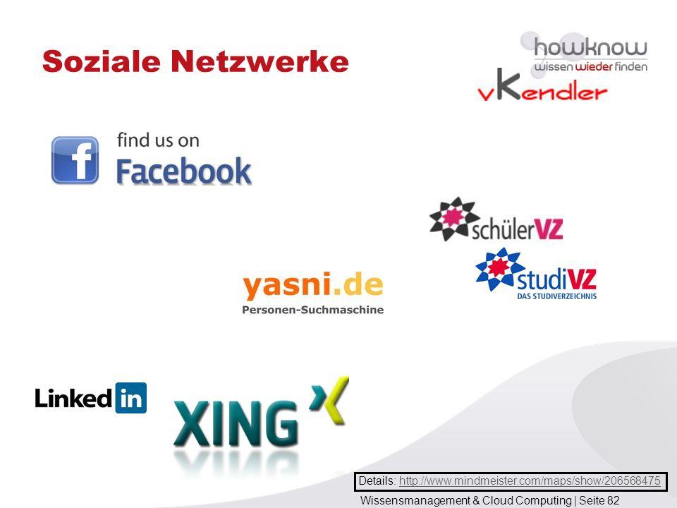 Wissensmanagement & Cloud Computing | Seite 82 Soziale Netzwerke Details: http://www.mindmeister.com/maps/show/206568475http://www.mindmeister.com/map