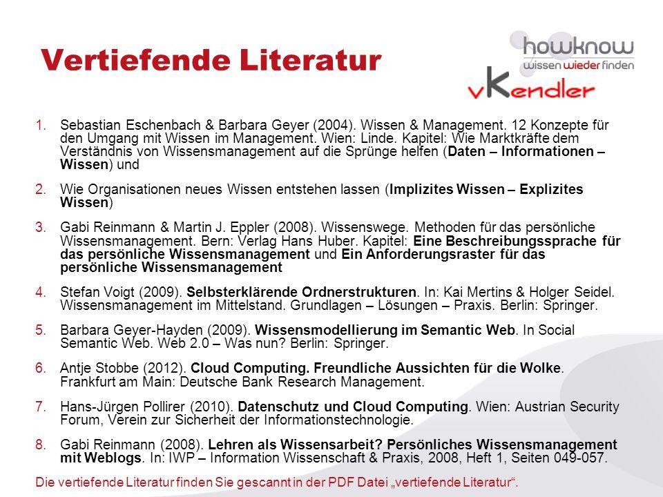 Vertiefende Literatur 1.Sebastian Eschenbach & Barbara Geyer (2004). Wissen & Management. 12 Konzepte für den Umgang mit Wissen im Management. Wien: L