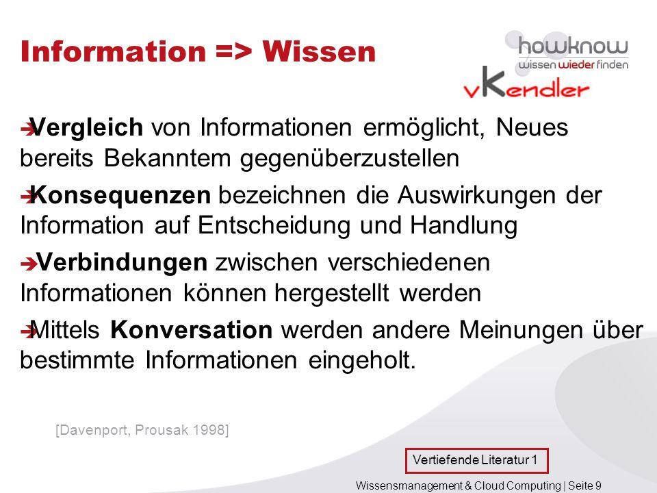 Wissensmanagement & Cloud Computing | Seite 9 Information => Wissen Vergleich von Informationen ermöglicht, Neues bereits Bekanntem gegenüberzustellen