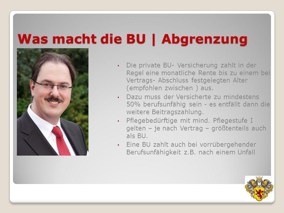 Was macht die BU | Abgrenzung Die private BU- Versicherung zahlt in der Regel eine monatliche Rente bis zu einem bei Vertrags- Abschluss festgelegten