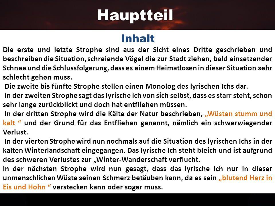 Einleitung In demDas Gedicht Vereinsamt von Friedrich Nietzsche aus dem Jahre 1887 wird der Verlust der Heimat und die Einsamkeit eines Subjekts mit H