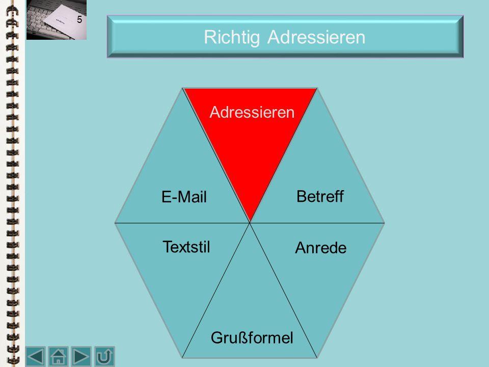 Richtig Adressieren 5 Adressieren Textstil E-Mail Betreff Anrede Grußformel