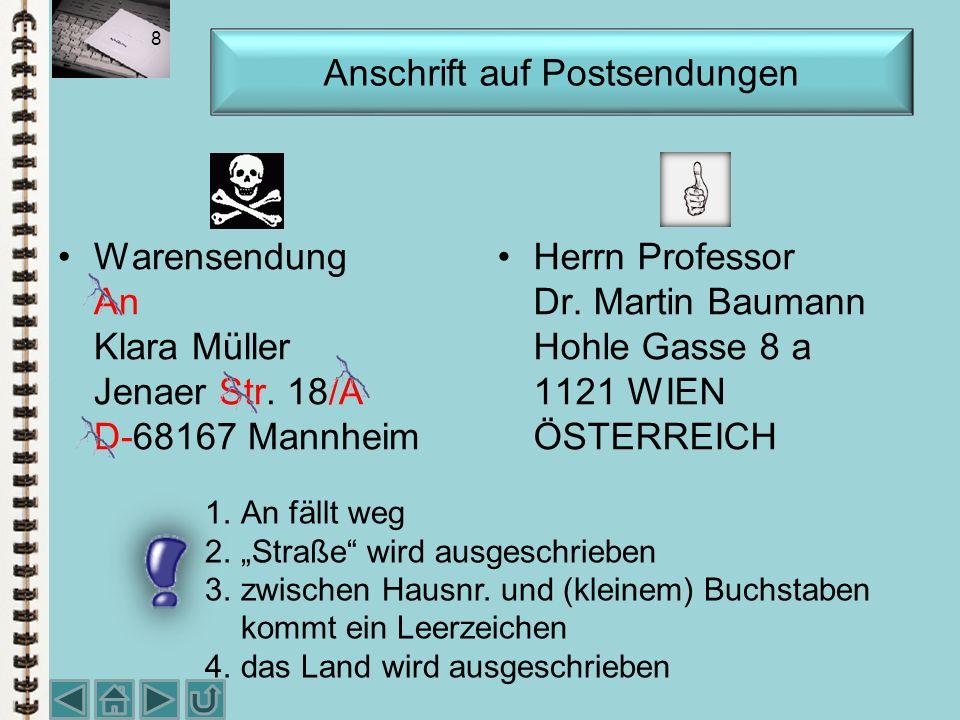 Warensendung An Klara Müller Jenaer Str.