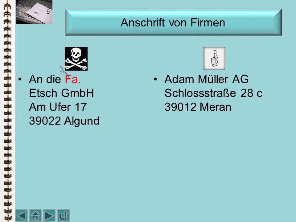 Warensendung An Klara Müller Jenaer Str. 18/A D-68167 Mannheim Anschrift auf Postsendungen Herrn Professor Dr. Martin Baumann Hohle Gasse 8 a 1121 WIE