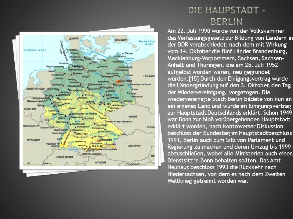 Am 22. Juli 1990 wurde von der Volkskammer das Verfassungsgesetz zur Bildung von Ländern in der DDR verabschiedet, nach dem mit Wirkung vom 14. Oktobe