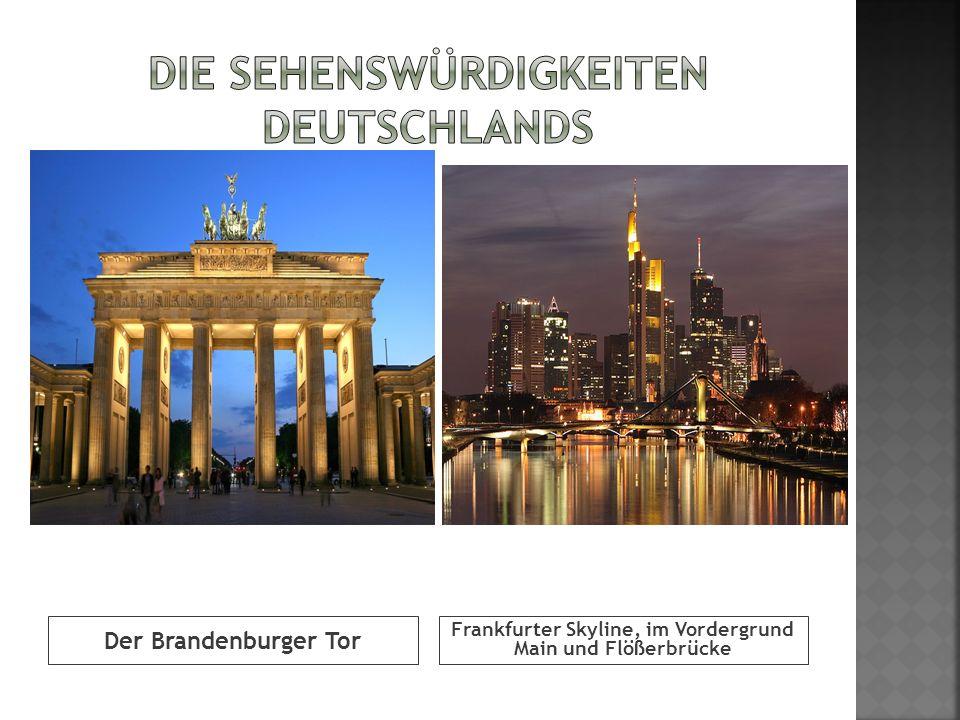 Der Brandenburger Tor Frankfurter Skyline, im Vordergrund Main und Flößerbrücke