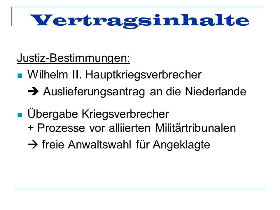 Vertragsinhalte Justiz-Bestimmungen: Wilhelm II.