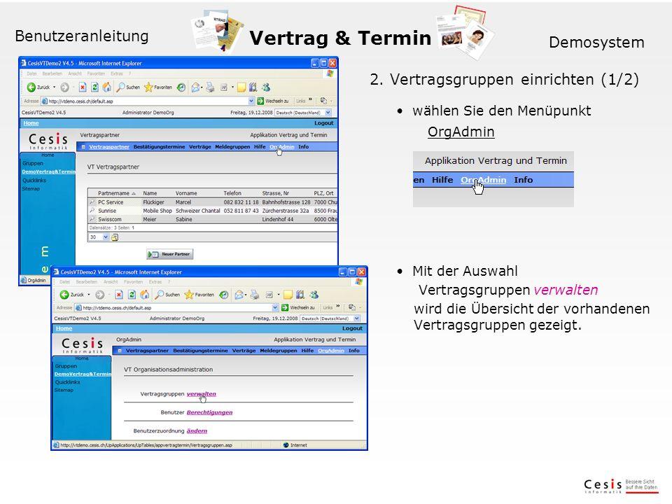 Vertrag & Termin Benutzeranleitung Demosystem 2.