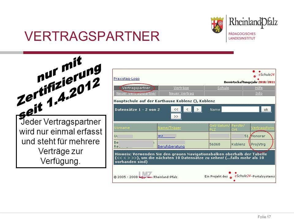 Folie 17 Jeder Vertragspartner wird nur einmal erfasst und steht für mehrere Verträge zur Verfügung. VERTRAGSPARTNER