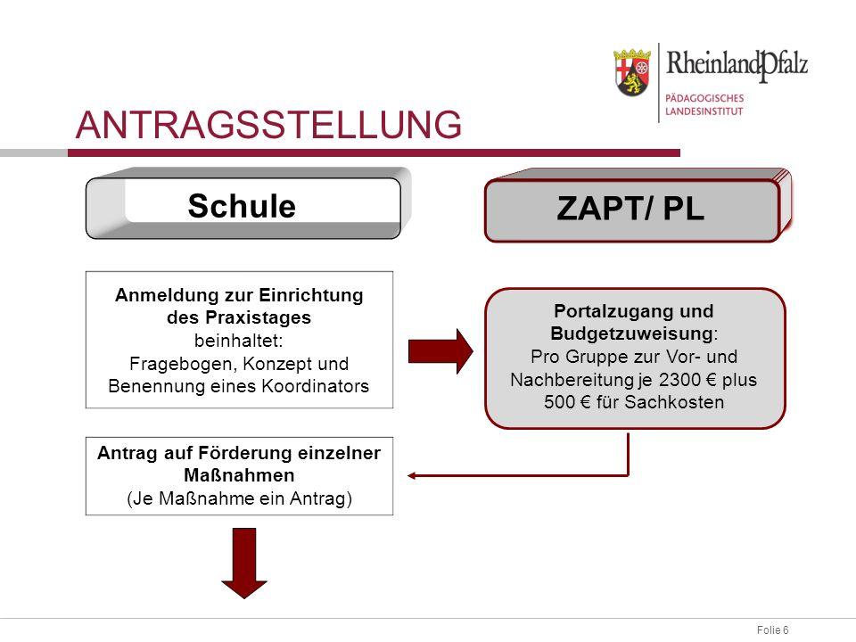 Folie 6 Anmeldung zur Einrichtung des Praxistages beinhaltet: Fragebogen, Konzept und Benennung eines Koordinators Schule ZAPT/ PL Antrag auf Förderun