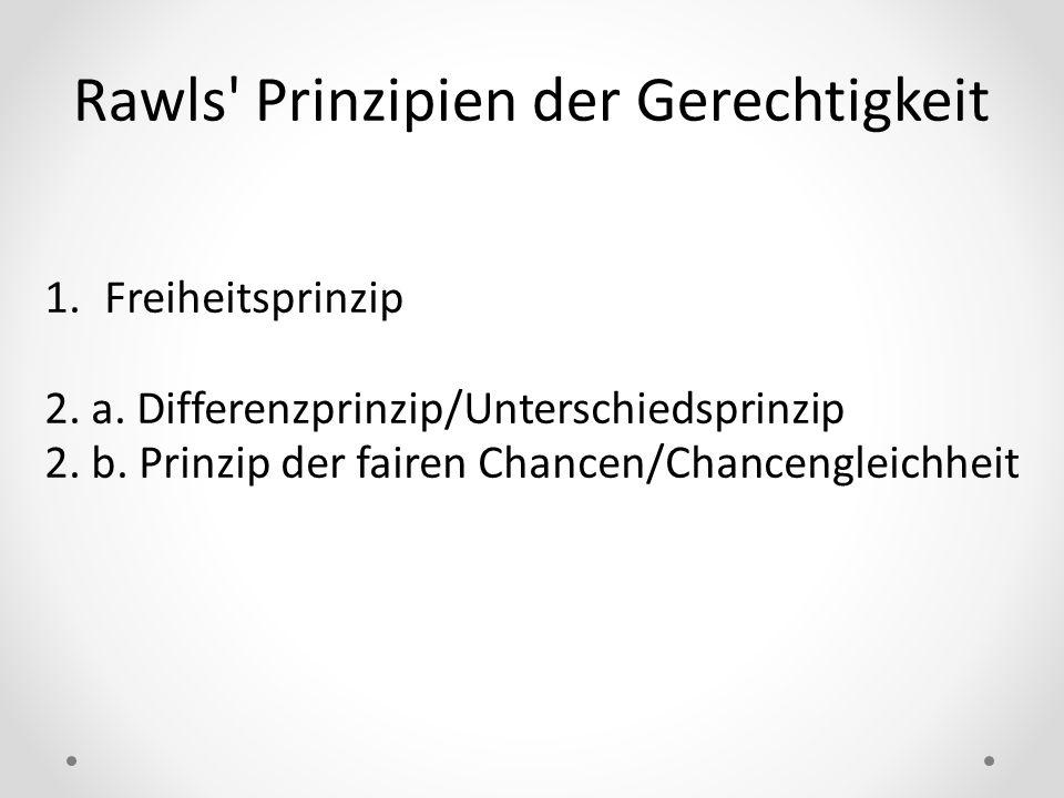 Rawls' Prinzipien der Gerechtigkeit 1.Freiheitsprinzip 2. a. Differenzprinzip/Unterschiedsprinzip 2. b. Prinzip der fairen Chancen/Chancengleichheit