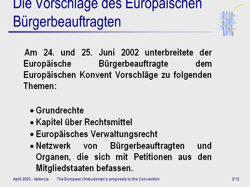 April 2003 - ValenciaThe European Ombudsmans proposals to the Convention3/12 Grundrechte Artikel Grundrechte und Menschenrechte 1.