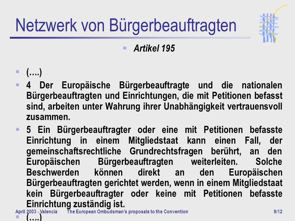 April 2003 - ValenciaThe European Ombudsmans proposals to the Convention9/12 Netzwerk von Bürgerbeauftragten Artikel 195 (….) 4 Der Europäische Bürgerbeauftragte und die nationalen Bürgerbeauftragten und Einrichtungen, die mit Petitionen befasst sind, arbeiten unter Wahrung ihrer Unabhängigkeit vertrauensvoll zusammen.