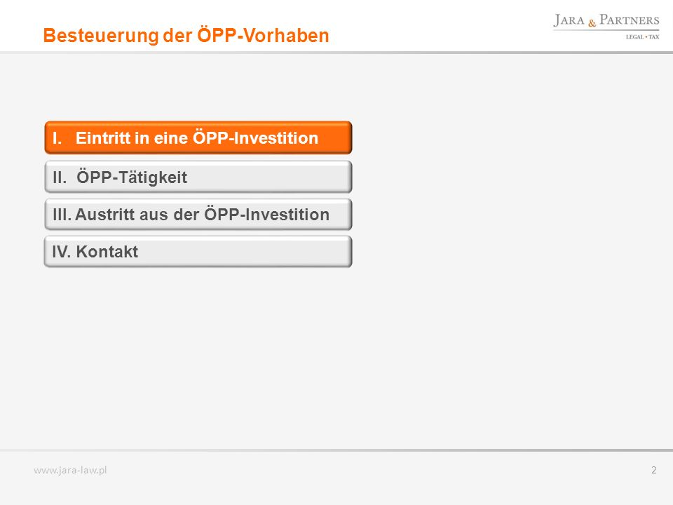 www.jara-law.pl 3 EINTRITT EINES ÖFFENTLICHEN PARTNERS IN EINE ÖPP-INVESTITION Öffentlicher PartnerPrivater Partner ÖPP-Vertrag Eigenleistung I.