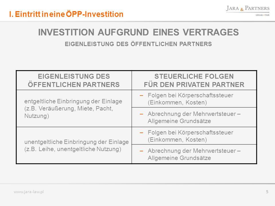 www.jara-law.pl 6 INVESTITION DURCH GRÜNDUNG EINER PROJEKTGESELLSCHAFT EINLAGE DES ÖFFENTLICHEN PARTNERS IN DIE PROJEKTGESELLSCHAFT EIGENLEISTUNG DES ÖFFENTLICHEN PARTNERS STEUERLICHE FOLGEN FÜR DIE PROJEKTGESELLSCHAFT unentgeltliche Einlage – MwSt.