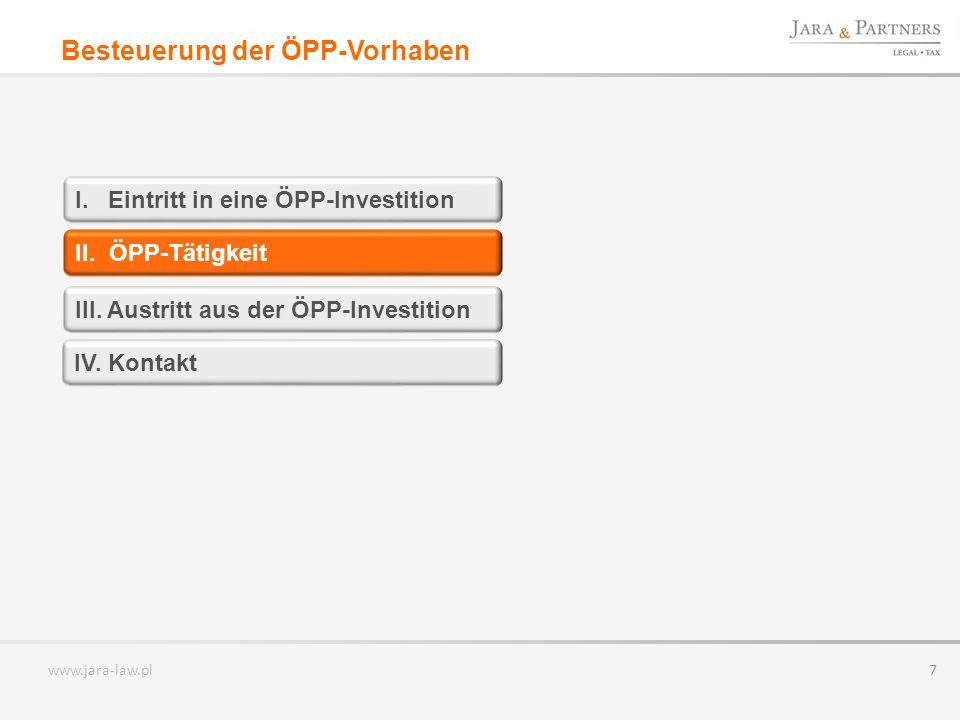 www.jara-law.pl 7 II.ÖPP-Tätigkeit III. Austritt aus der ÖPP-Investition I.