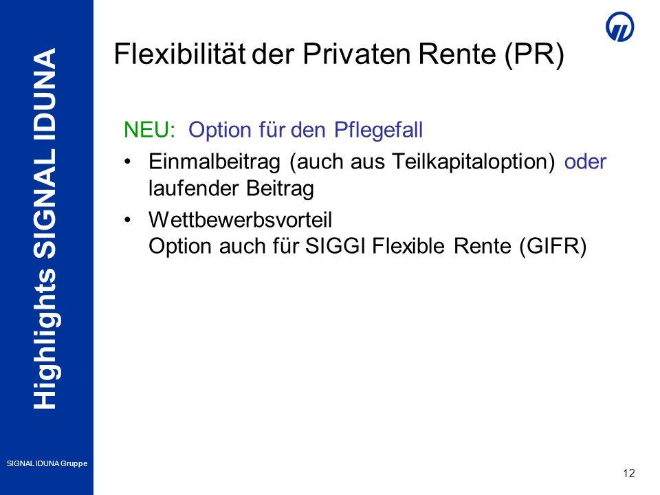 Highlights SIGNAL IDUNA SIGNAL IDUNA Gruppe 12 NEU: Option für den Pflegefall Einmalbeitrag (auch aus Teilkapitaloption) oder laufender Beitrag Wettbewerbsvorteil Option auch für SIGGI Flexible Rente (GIFR) Flexibilität der Privaten Rente (PR)