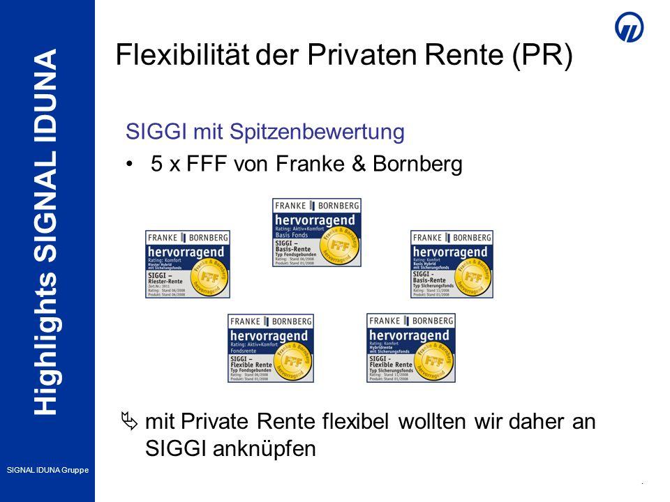 Highlights SIGNAL IDUNA SIGNAL IDUNA Gruppe 4 mit Private Rente flexibel wollten wir daher an SIGGI anknüpfen SIGGI mit Spitzenbewertung 5 x FFF von Franke & Bornberg Flexibilität der Privaten Rente (PR)