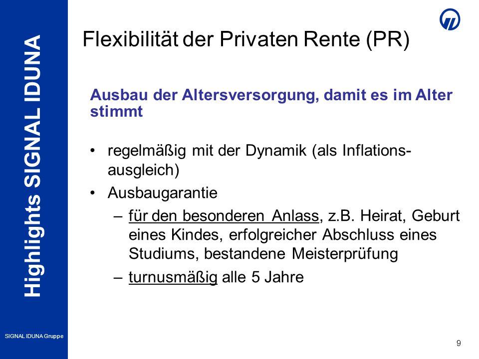 Highlights SIGNAL IDUNA SIGNAL IDUNA Gruppe 9 regelmäßig mit der Dynamik (als Inflations- ausgleich) Ausbaugarantie –für den besonderen Anlass, z.B. H