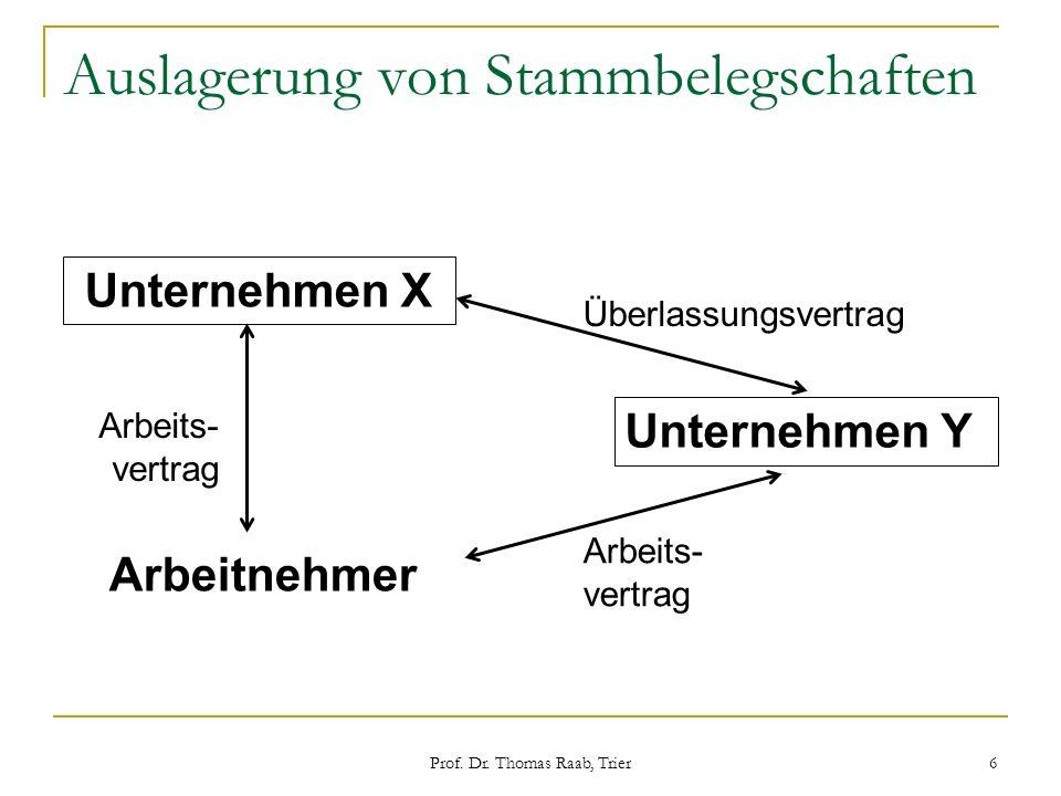 Prof. Dr. Thomas Raab, Trier 6 Auslagerung von Stammbelegschaften Unternehmen X Unternehmen Y Arbeitnehmer Arbeits- vertrag Überlassungsvertrag