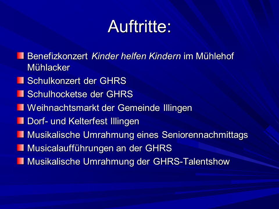 Auftritte: Benefizkonzert Kinder helfen Kindern im Mühlehof Mühlacker Schulkonzert der GHRS Schulhocketse der GHRS Weihnachtsmarkt der Gemeinde Illing