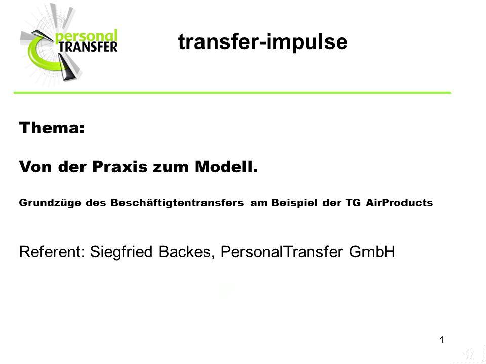 1 Thema: Von der Praxis zum Modell. Grundzüge des Beschäftigtentransfers am Beispiel der TG AirProducts Referent: Siegfried Backes, PersonalTransfer G