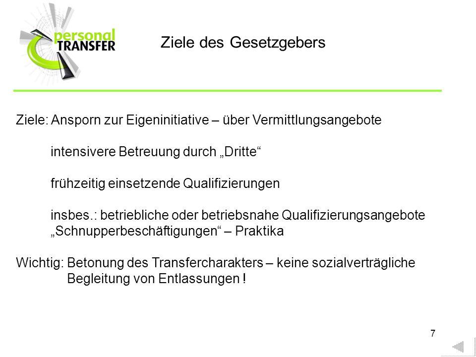 7 Ziele: Ansporn zur Eigeninitiative – über Vermittlungsangebote intensivere Betreuung durch Dritte frühzeitig einsetzende Qualifizierungen insbes.: b