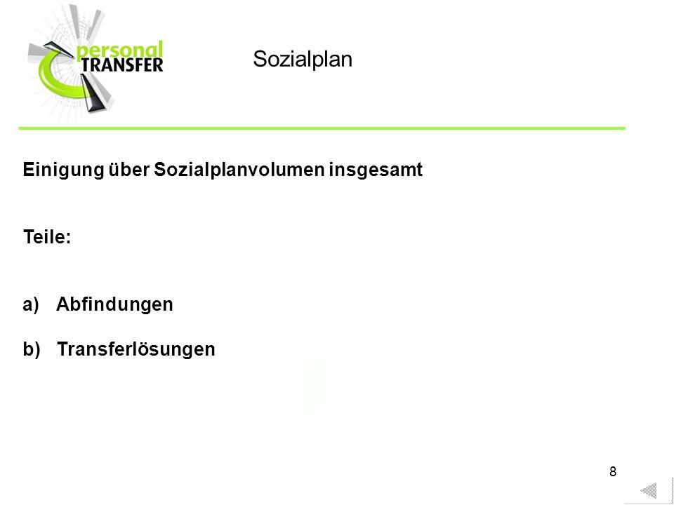 8 Einigung über Sozialplanvolumen insgesamt Teile: a)Abfindungen b)Transferlösungen Sozialplan
