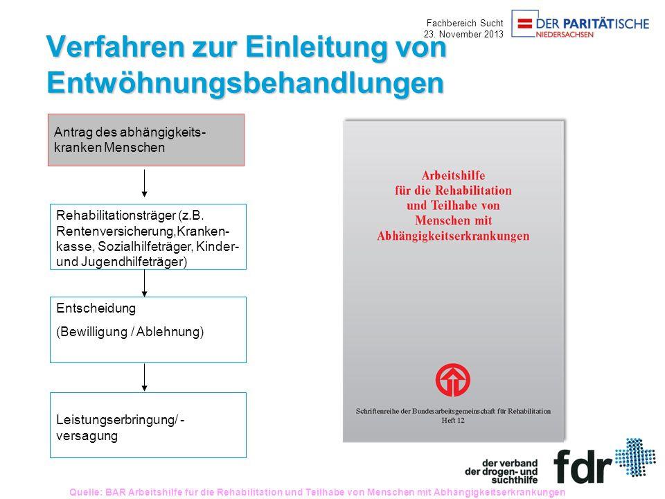Fachbereich Sucht 23. November 2013 Verfahren zur Einleitung von Entwöhnungsbehandlungen Rehabilitationsträger (z.B. Rentenversicherung,Kranken- kasse