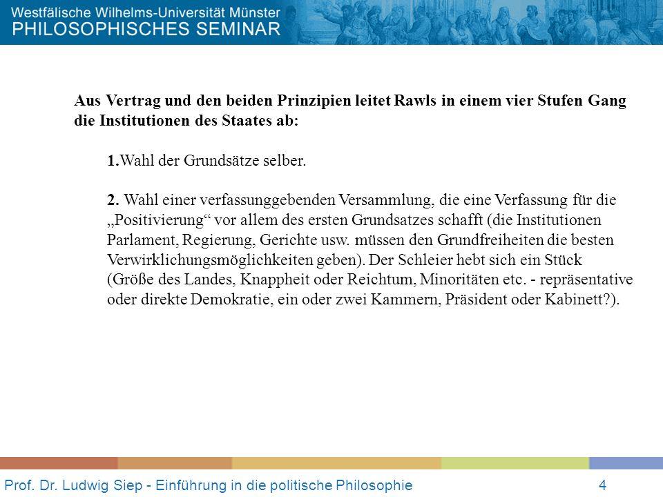 Prof. Dr. Ludwig Siep - Einführung in die politische Philosophie4 Aus Vertrag und den beiden Prinzipien leitet Rawls in einem vier Stufen Gang die Ins