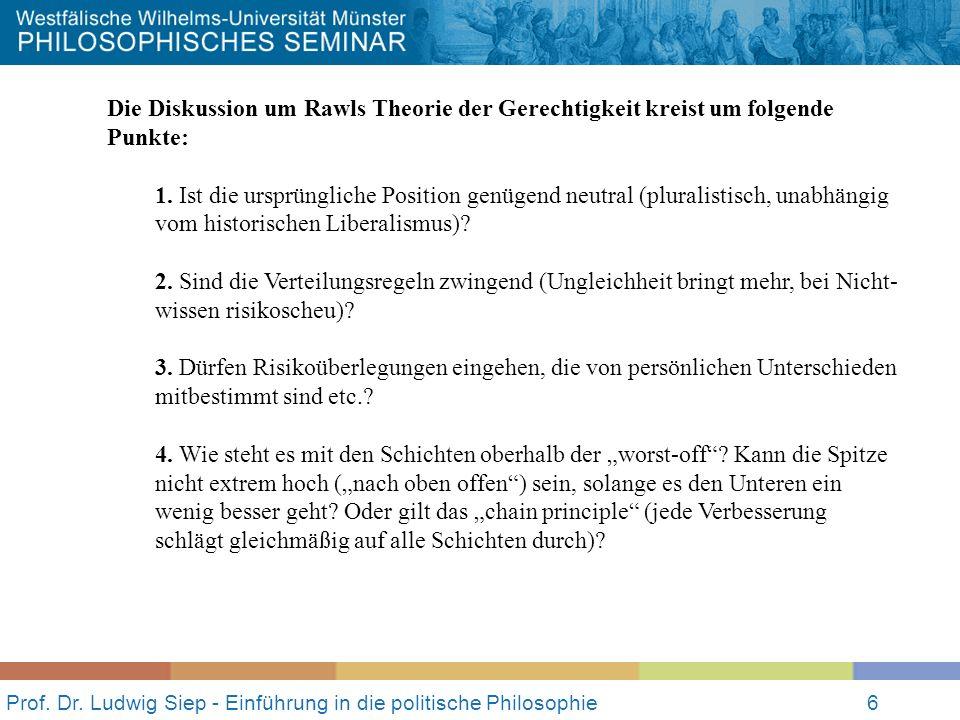 Prof. Dr. Ludwig Siep - Einführung in die politische Philosophie6 Die Diskussion um Rawls Theorie der Gerechtigkeit kreist um folgende Punkte: 1. Ist