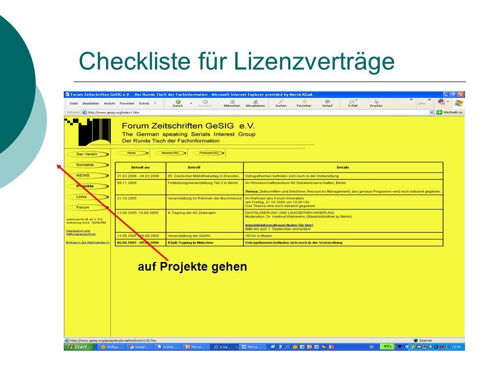Checkliste für Lizenzverträge auf Projekte gehen