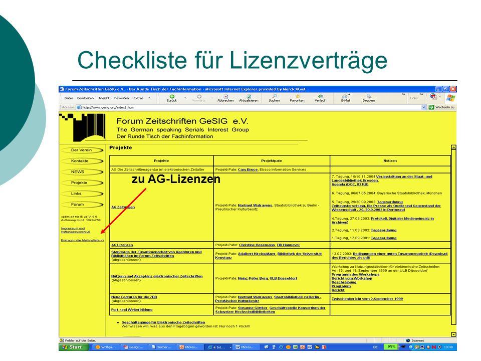 Checkliste für Lizenzverträge zu AG-Lizenzen