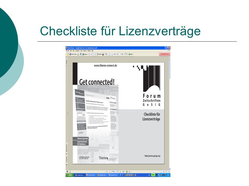 Checkliste für Lizenzverträge
