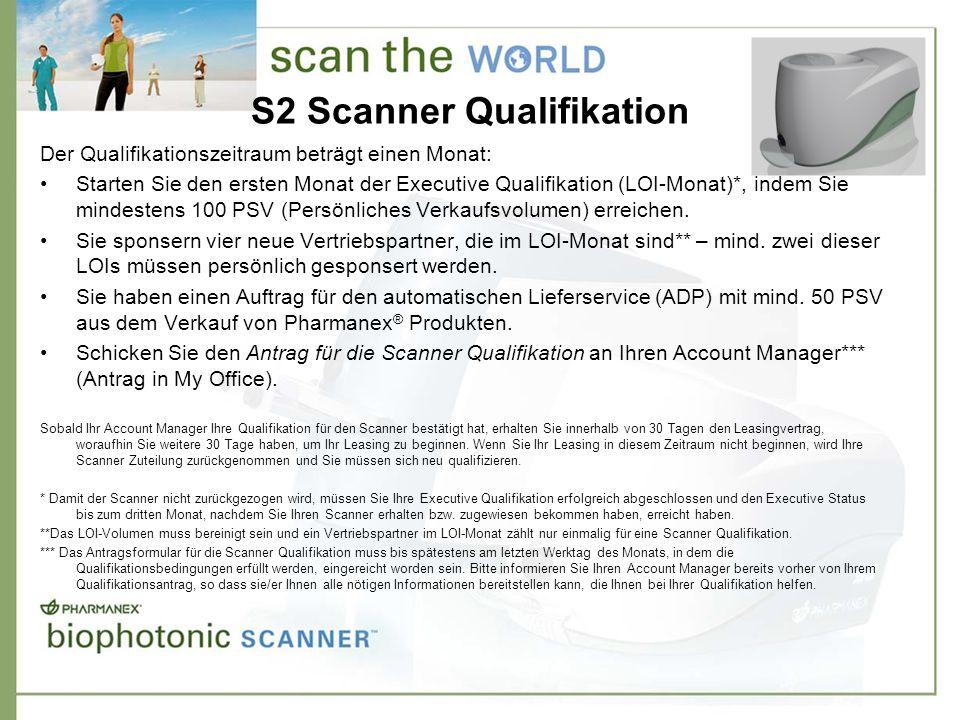 S2 Scanner Qualifikation Der Qualifikationszeitraum beträgt einen Monat: Starten Sie den ersten Monat der Executive Qualifikation (LOI-Monat)*, indem Sie mindestens 100 PSV (Persönliches Verkaufsvolumen) erreichen.