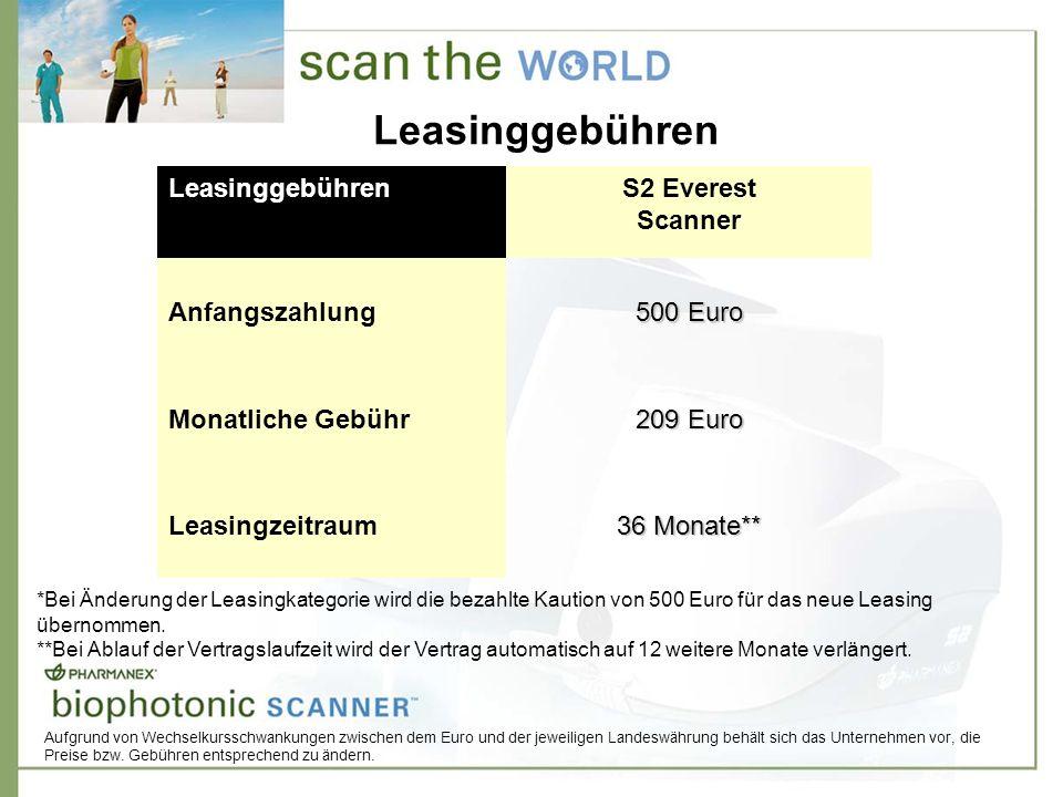 Leasinggebühren S2 Everest Scanner Anfangszahlung 500 Euro Monatliche Gebühr 209 Euro Leasingzeitraum 36 Monate** *Bei Änderung der Leasingkategorie wird die bezahlte Kaution von 500 Euro für das neue Leasing übernommen.