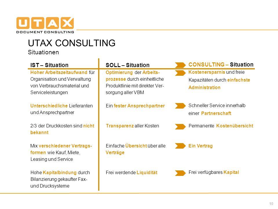10 UTAX CONSULTING Situationen IST – Situation Hoher Arbeitszeitaufwand für Organisation und Verwaltung von Verbrauchsmaterial und Serviceleistungen U